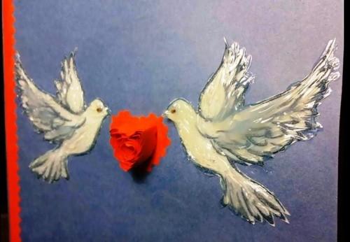 Открытка с голубями ко Дню Святого Валентина