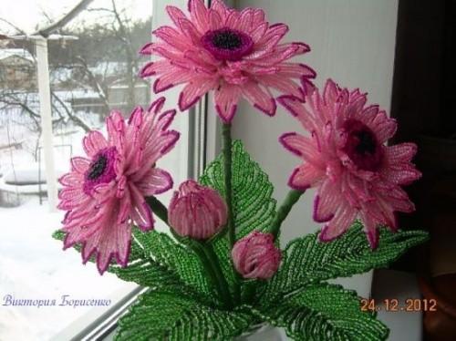 Цветы из бисера в подарок «Гербера розовая»