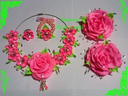 Набор украшения из атласных лент «Цветение»