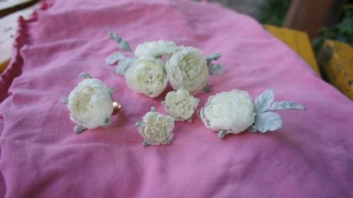Наборы украшений из шелка «Невеста»