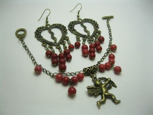 Комплект украшений «Ангел», состоящий из браслета и сережек
