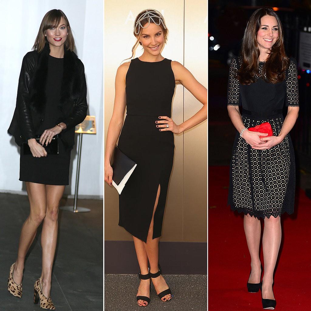 Карли Финч, Рэйчел Финч и Кейт Миддлтон в маленьком черном платье