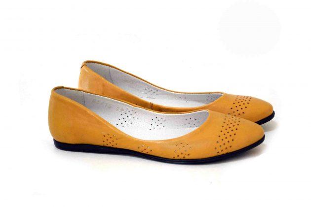 Желтые женские кожаные балетки