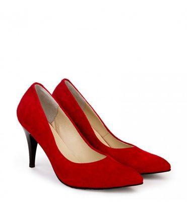 Красные лодочки на небольшом каблуке