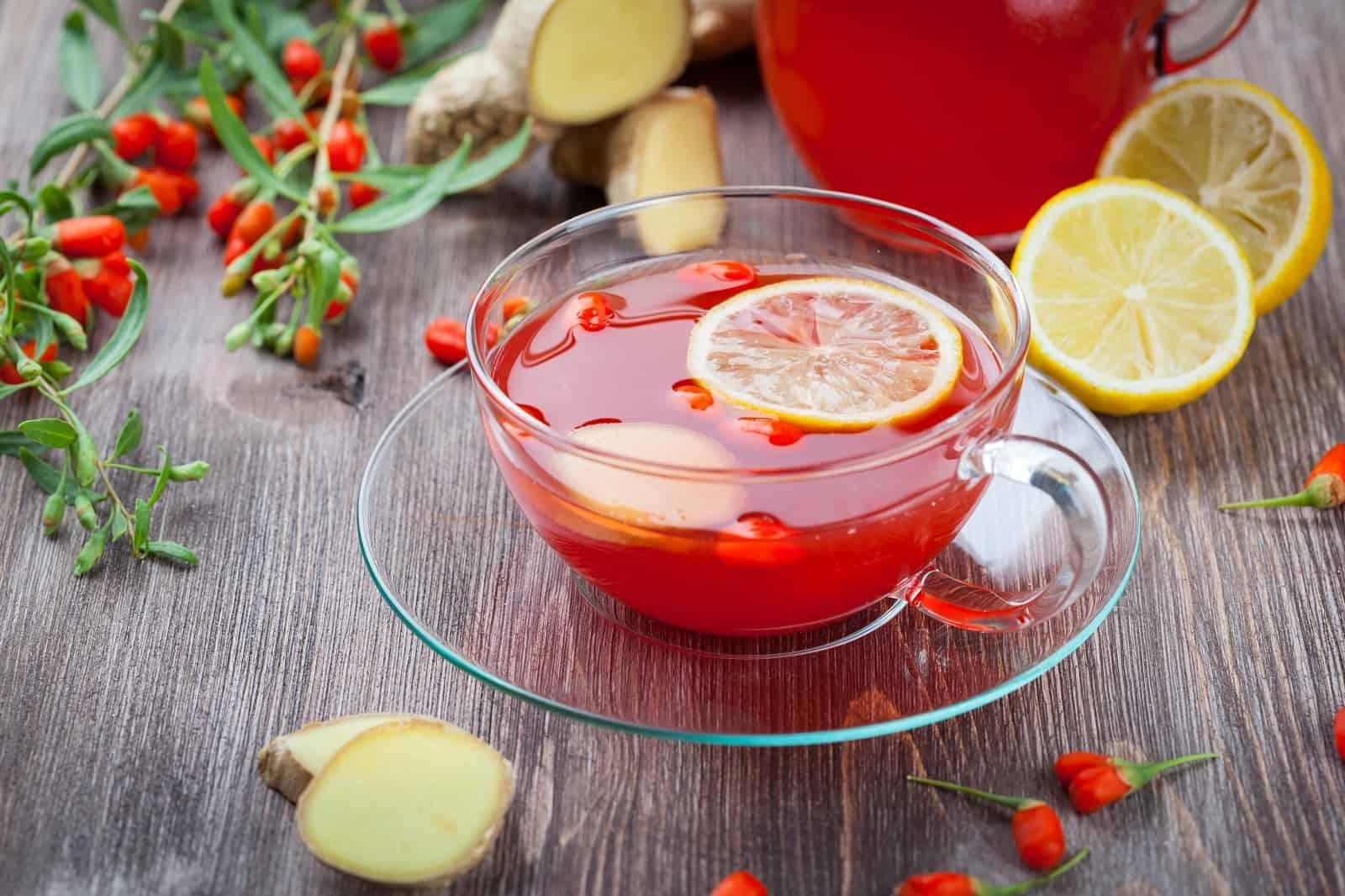 Лимонный чай с ягодами годжи
