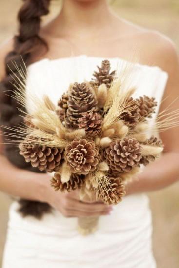 Колоски и шишки - букет невесты