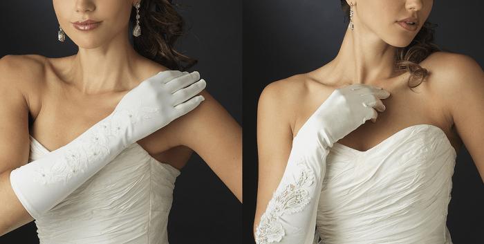 Свадебные перчатки до локтя и чуть выше локтя
