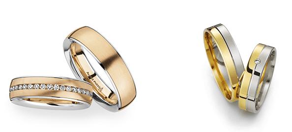 Белое и красное/желтое золото - обручальные кольца