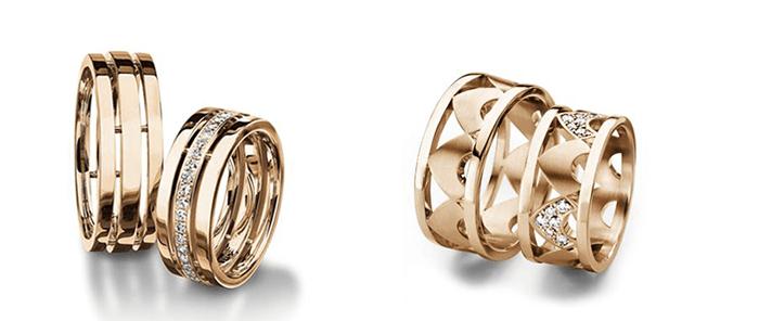 Красное ижелтое золото - обручальные кольца