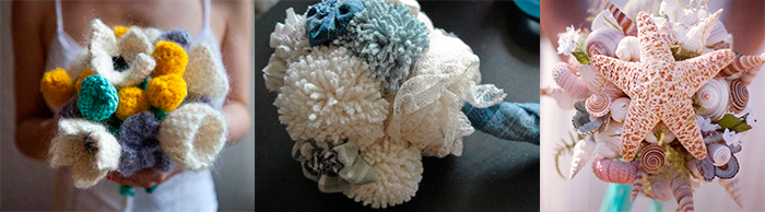 Свадебные букеты из необычных материалов
