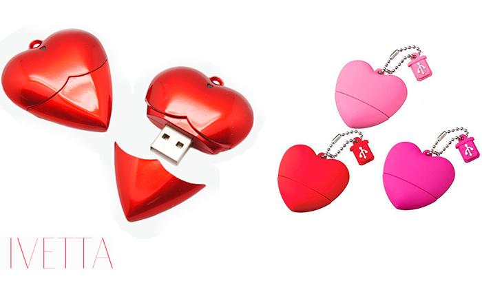 Флешка в форме сердечка