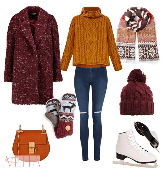 Образ № 4 - Джеггинсы и классический свитер для похода на каток