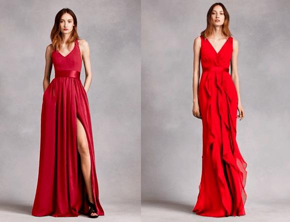 Красные платья подружкам невесты