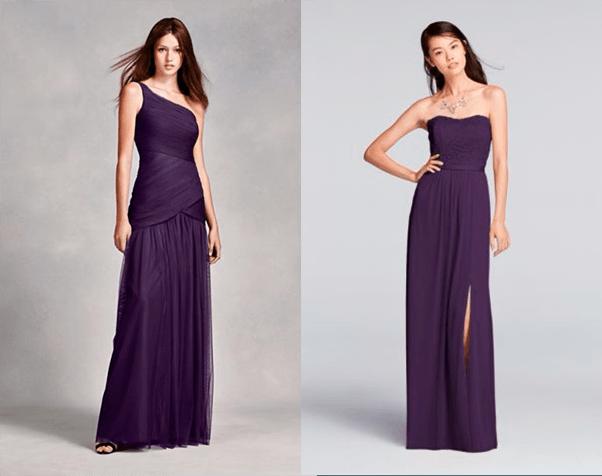 Платья для подружек невесты в оттенках фиолетового