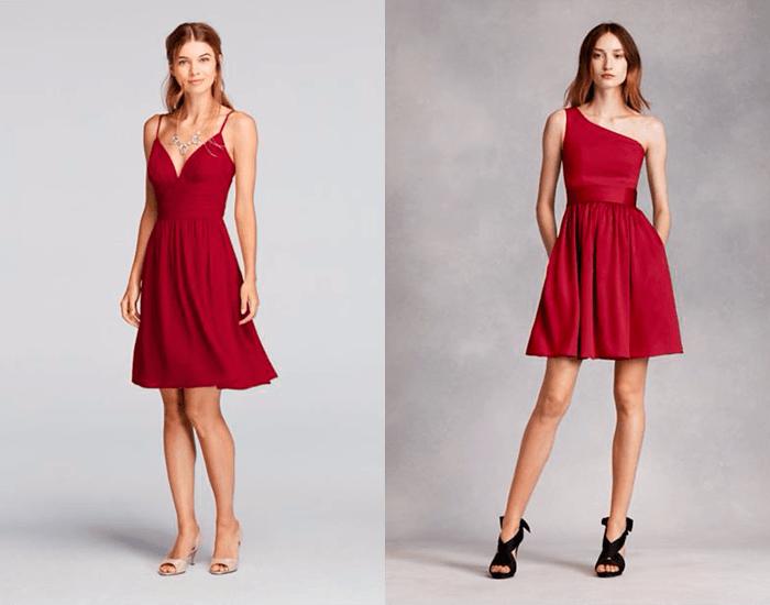 Платья для подружек невесты в оттенках красного