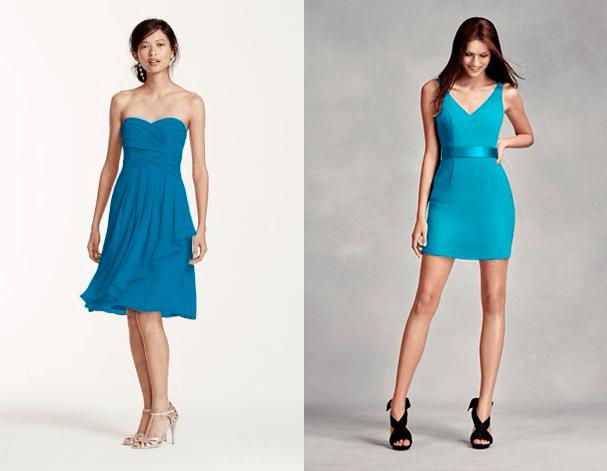 Платья для подружек невесты в оттенках синего