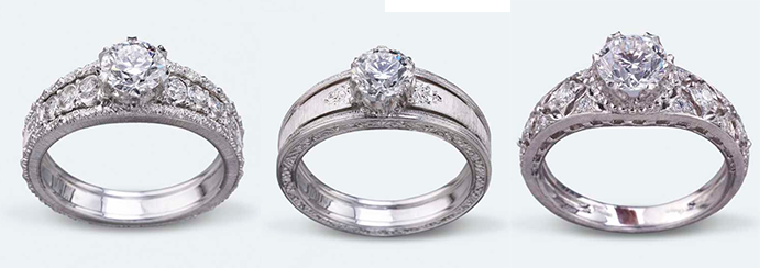 Массивные кольца для помолвки из белого золота Buccellati