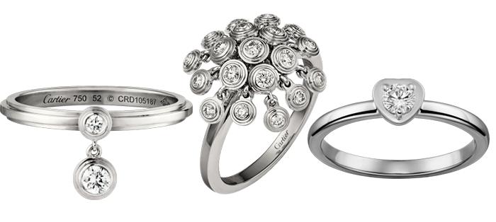 Необычные кольца для помолвки из белого золота с бриллиантами Cartier