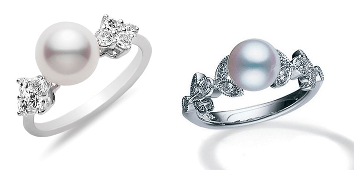 Кольца для помолвки с жемчугом, Mikimoto