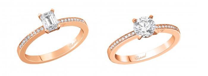 Кольца для помолвки из розового золота с бриллиантами Chopard