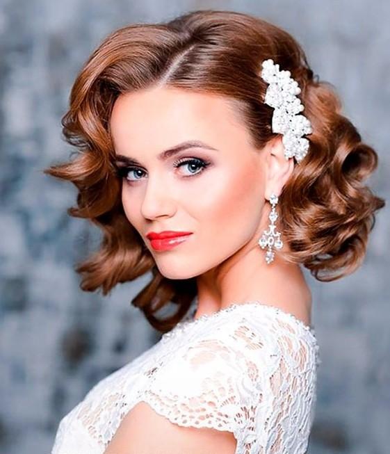 Причёски для невесты на средние волосы
