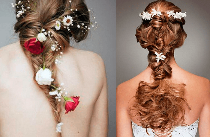 прическа невесты с цветами