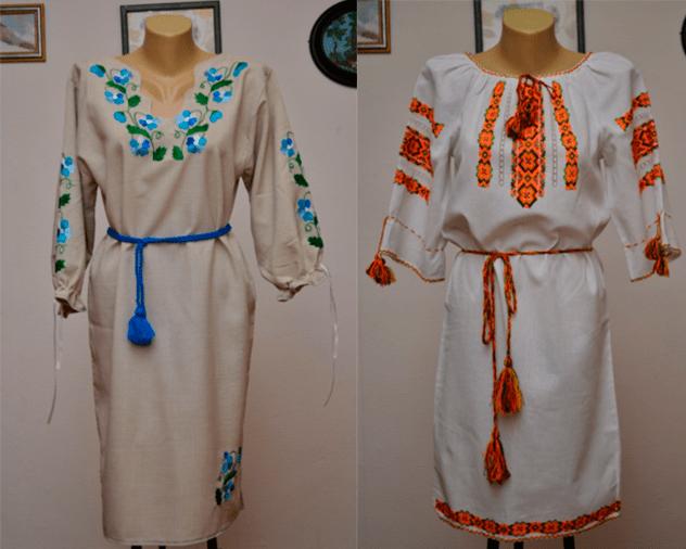 Льняные платья длины миди с вышивкой и рукавом от Etno-vyshyvanka