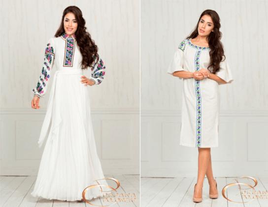 вышитые платья разной длины и фасонов от Oksana Polonets