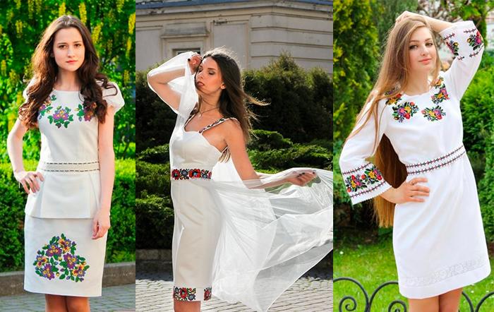Прямые вышитые миниплатья для невесты от Oleshchuk