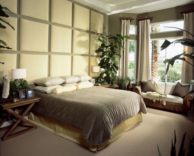 Спальни в стиле слияния с природой