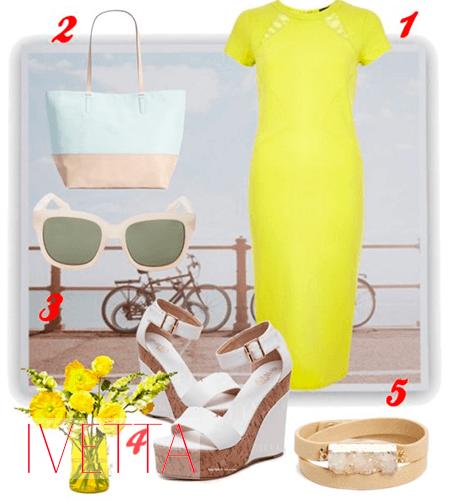 желтое платье-карандаш Риз Уизерспун
