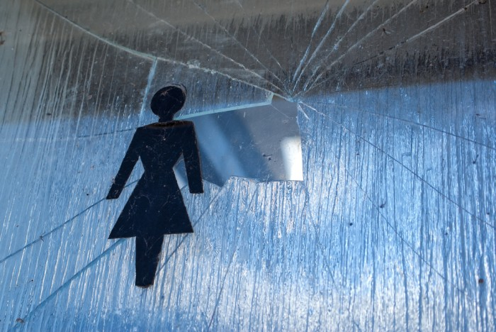 Символическое изображение домашнего насилия - разбитое стекло и символическое изображение женщины