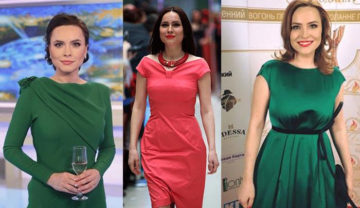 Коллаж из трех фото Анастасии Даугуле в зеленых и розовом платье