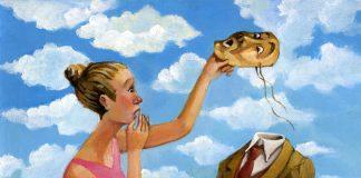 Девушка снимает маску с мужчины
