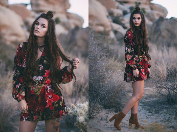 Девушка в коротком черном платье с красными цветами