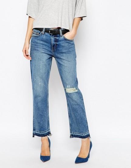 Широкие укороченные джинсы