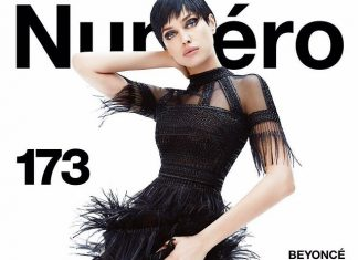 Ирина Шейк c короткими черными волосами и в черном платье