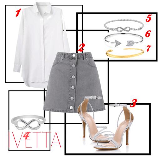 Набор вещей:серая юбка на пуговицах, белая рубашка, босоножки, браслеты,кольцо