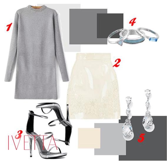 Набор вещей: серое платье, светлая юбка, босоножки, серьги, кольца
