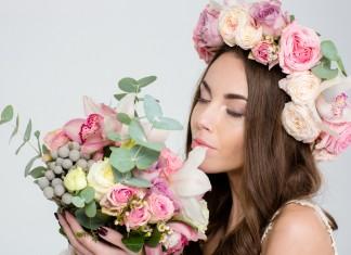 Венок невесты из живых цветов - свадебный венок