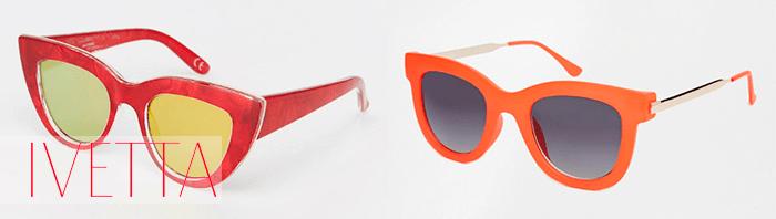 Солнцезащитные очки в красной и оранжевой оправе