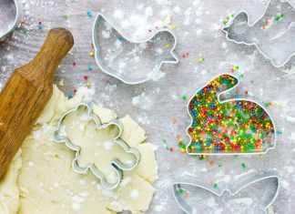 тесто и резак кролик для печенья