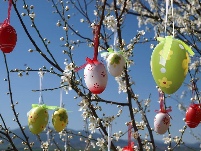 Пасхальные яйца в цветочек висят на деревево дворе