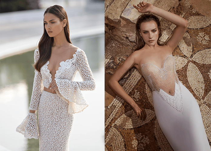 Свадебные платья с глубоким декольте от Nurit Hen