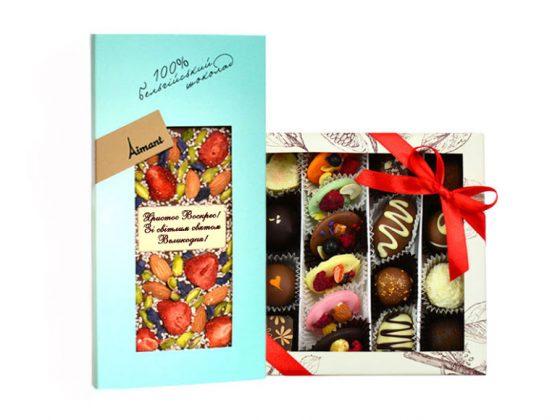 Подарочный набор шоколадная плитка и коллекция Petit из разных конфеток
