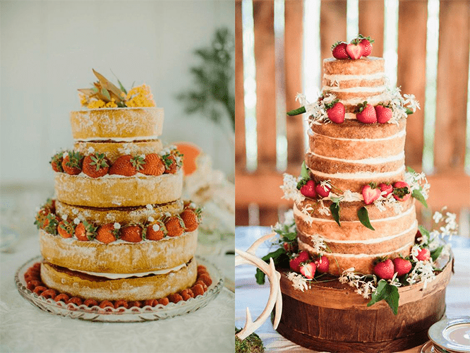 «Голые» свадебные торты с клубникой