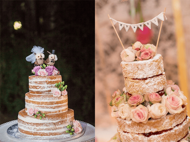 «Голые» свадебные торты с розами