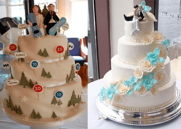 Свадебные торты с фигурками жениха и невесты и с цветами