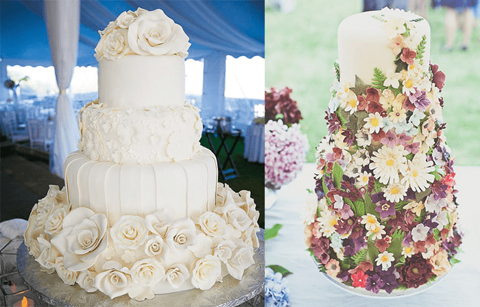 Белый свадебный торт с белыми цветами и торт в разнообразных цветах