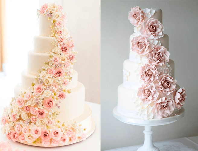 Белые свадебные торты с большим количеством цветов